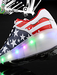 Kid Boy Girl's Wheely's Roller Skate Shoes / Ultra-light One Wheel Skating LED Light Shoes / Athletic / Casual LED Lace-up Black Pink Red Gray