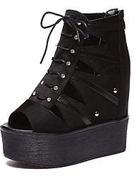 Women's Sandals Summer Fall Gladiator Creepers Leatherette Dress Casual Creepers Rhinestone Beading Black