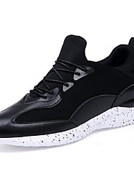 Men's Athletic Shoes Spring Fall Winter Comfort PU Outdoor Casual Athletic Flat Heel Lace-up Split JointBlack Black and Red Black and
