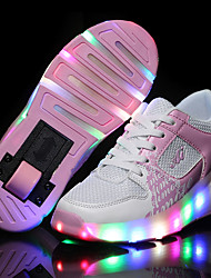 Girl's Athletic Shoes Spring Summer Fall Winter Comfort Novelty Tulle Outdoor Casual Athletic Low Heel Lace-up LED Black Blue PinkSkiing