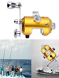 Mini Pocket Pen Fish Drum High Hard Alloy Outdoor Fishing Reel Drum Wheel Speed Ratio 2.1:1 Golden Dia 2.7cm