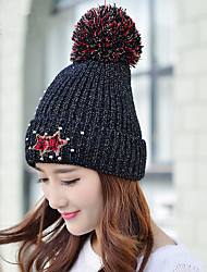 Fashion Winter New Smiling Beads Beads Plus Velvet Single Cap Wool Hat Ms. Warm Knit Hat Cap Headset
