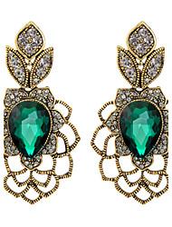 Smaragd Tropfen-Ohrringe Schmuck Damen Hochzeit Party Alltag Krystall 1 Paar Grün