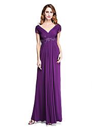 2017 Lanting Bride® Sheath / Column Mother of the Bride Dress - Open Back Elegant Floor-length Short Sleeve Jersey withAppliques Beading Criss