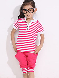 Girl's Cotton Fashion Summer Going out Casual/Daily Stripe Tops & Shorts Two-piece Set Sport Suit