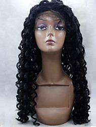 Heat Resistant Synthetic Hair Fiber Wigs Kinky Curly Hair Black Color Synthetic Lace Front Wig
