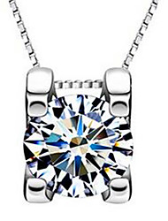 Women's Pendant Necklaces Sterling Silver Zircon Cubic Zirconia Simulated Diamond Jewelry Basic Silver Jewelry Casual 1pc