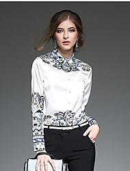 Women's Formal Work Sophisticated Spring Shirt,Print Shirt Collar Long Sleeve White Polyester Medium
