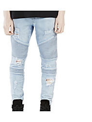 Men's Skinny Jeans Pants,Casual/Daily Simple Solid Low Rise Zipper Rayon Micro-elastic Summer