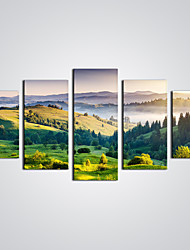 Unframed Green Mountain Landscape Canvas Print Art  for  Home Decoration (Total size 100cm L x50cm H  by 5pcs)