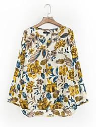 AliExpress Hot yellow flower print long-sleeved V-neck long-sleeved shirt