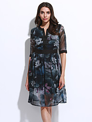 Women's Going out Sophisticated Sheath Dress,Floral Round Neck Knee-length Short Sleeve Black Rayon Spring