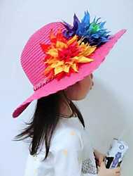 Girl's Fashion Cotton Summer Going out/Casual/Daily Solid Color Flower Sand Beach Headgear Straw Hat Children Cap