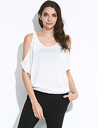 Women's Cut Out Casual/Daily Sexy / Street chic Summer T-shirt,Solid Off Shoulder Short Sleeve Pink / White Cotton Thin