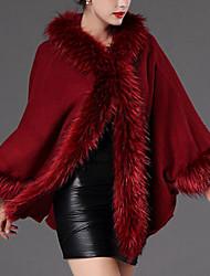 Feminino Capa / Capes Para Noite Casual Vintage Outono Inverno, Sólido Vermelho Preto Cinza Verde Pêlo de Coelho Acrílico Com Capuz-Manga