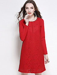 Women's Plus Size Going out Casual/Daily Sexy Simple Cute Shift Dress,Solid Lace Beaded Round Neck Above Knee Long Sleeve Cotton Spandex