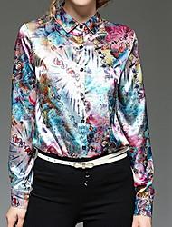 Feminino Camisa Social Casual Simples Primavera Outono,Geométrica Estampa Animal Estampa Colorida Colorido Raiom Colarinho ChinêsManga