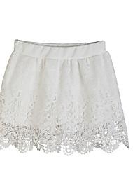 Damen Röcke,A-Linie einfarbig Spitze,Lässig/Alltäglich Mittlere Hüfthöhe Mini Elastizität Kunstseide Micro-elastisch Riemengurte