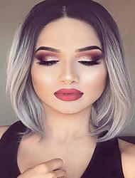 Moyen de longues perruques synthétiques droites gris ombre chaleur perruque synthétique respectueux