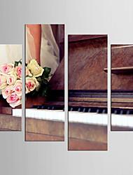 Canvas Set Leisure Floral/Botanical Modern European Style,Four Panels Canvas Square Print Wall Decor For Home Decoration