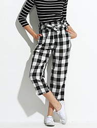Women's Check Black Chinos / Loose Pants,Simple