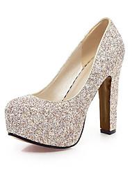 Золотой Белый Синий-Для женщин-Свадьба Для офиса Для вечеринки / ужина-Лак-На толстом каблукеОбувь на каблуках