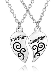 2pcs/set Necklace Heart Pendant Necklace Jewelry Party / Daily Unique Design for Mom Daughter