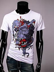 Herren Solide Geometrisch Retro Einfach Lässig/Alltäglich T-shirt,Rundhalsausschnitt Sommer Kurzarm Weiß Andere Undurchsichtig