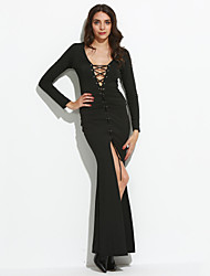 Women's Lace up Party Sexy Sheath Dress Solid V Neck Maxi Long Sleeve