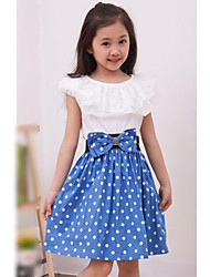 Girl's Casual/Daily Going out Party/Cocktail Polka Dot Dress,Cotton Blend Summer Short Sleeve