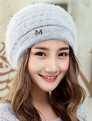 New Autumn And Winter Women 'S M - Letter Rabbit Hair Brett Warm Hueru Rabbit Hair Knit Caps