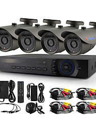 YanSe® 4 Channel 720P HD Wired CCTV Camera DVR Kit IR Color Waterproof Security Cameras System Home 1.0MP AHD-M