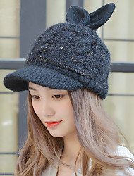 Fashion Autumn And Winter Tide Rabbit Ears Plus Velvet Wool Hat Warm Knit Cap