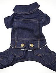 Chien Manteaux Vêtements pour Chien Hiver Dessin-Animé Mignon cow-boy Bleu