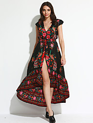 Women's Boho Going out / Beach Vintage Swing Floral Deep V Maxi Dress