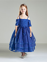 Princess Ankle-length Flower Girl Dress - Cotton Organza Half Sleeve Jewel with Beading Bow(s) Embroidery