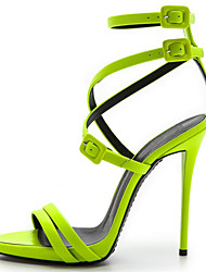 Women's Sandals Summer Patent Leather Office & Career Dress Casual Party & Evening Stiletto Heel Buckle Green