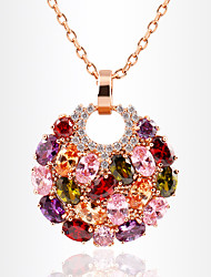 Necklace Rhinestone Pendant Necklaces Jewelry Daily Round Dangling Style Alloy Women 1pc Gift Multi Color