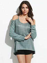 Women's Casual/Daily Sexy All Seasons T-shirtSolid Round Neck Long Sleeve Cotton Medium
