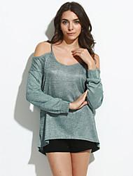 T-shirt Da donna Casual Sensuale Per tutte le stagioni,Tinta unita Rotonda Cotone Grigio / Verde Manica lunga Medio spessore