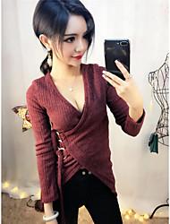 Feminino Blusa Casual Sensual Inverno,Sólido Vermelho Branco Cashmere Decote em V Profundo Manga Longa Grossa