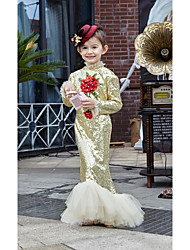 Princess Ankle-length Flower Girl Dress - Tulle Sequined High Neck with Beading Flower(s) Sash / Ribbon