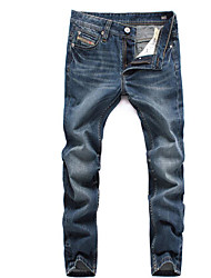 Men's Straight Jeans Pants,Casual/Daily Vintage Solid Low Rise Zipper Rayon Micro-elastic All Seasons