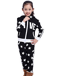 Girl's Cotton Fashion Spring/Fall Going out Casual/Daily Cartoon Print Coat & Pants Jeans Two-piece Set Sport Suit