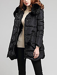 Women's Down Coat,Sexy Going out Solid-Polyester White Duck Down Long Sleeve Black