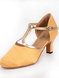 Chaussures de danse(Amande) -Personnalisables-Talon Personnalisé-Satin Cuir-Latines