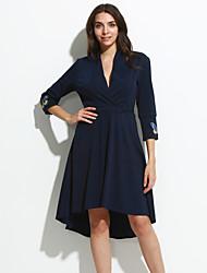 Feminino Bainha / Swing Vestido,Happy-Hour Moda de Rua Bordado Decote V Assimétrico Manga ¾ Azul / Vermelho Algodão / PoliésterPrimavera