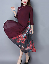 Women's Casual/Daily Vintage Ethnic Print Loose Dress Print Patchwork Stand False Two Midi Purple Linen Spring /Fall