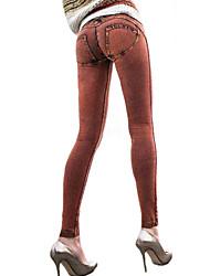 Para Mujer Un Color Vaquero Legging,Vaquero