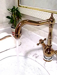 Antique Centerset Widespread with  Ceramic Valve Two Handles One Hole for  Ti-PVD , Bathroom Sink Faucet
